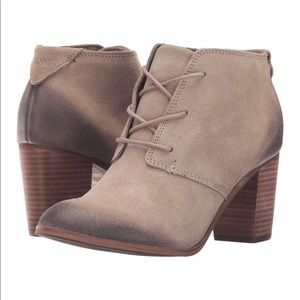 TOMS Lunata Lace-up Bootie Taupe Suede 6.5